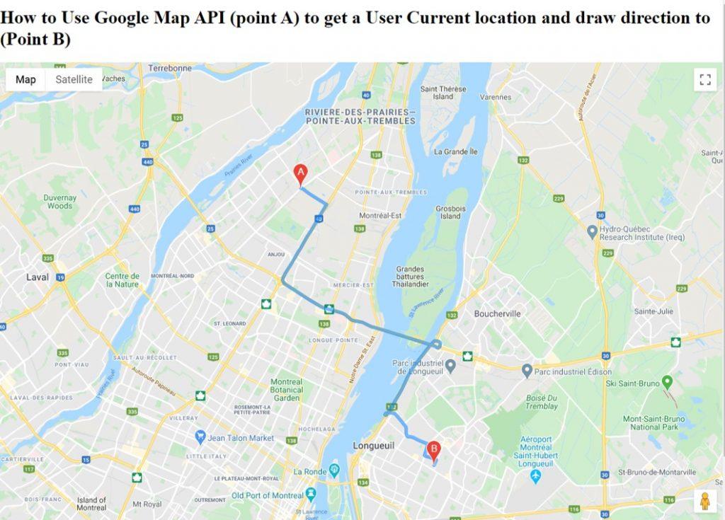 Comment utiliser l'API Google Map et HTML 5 pour obtenir la position actuelle de l'utilisateur (le point A) et dessiner la direction vers ( le point B)