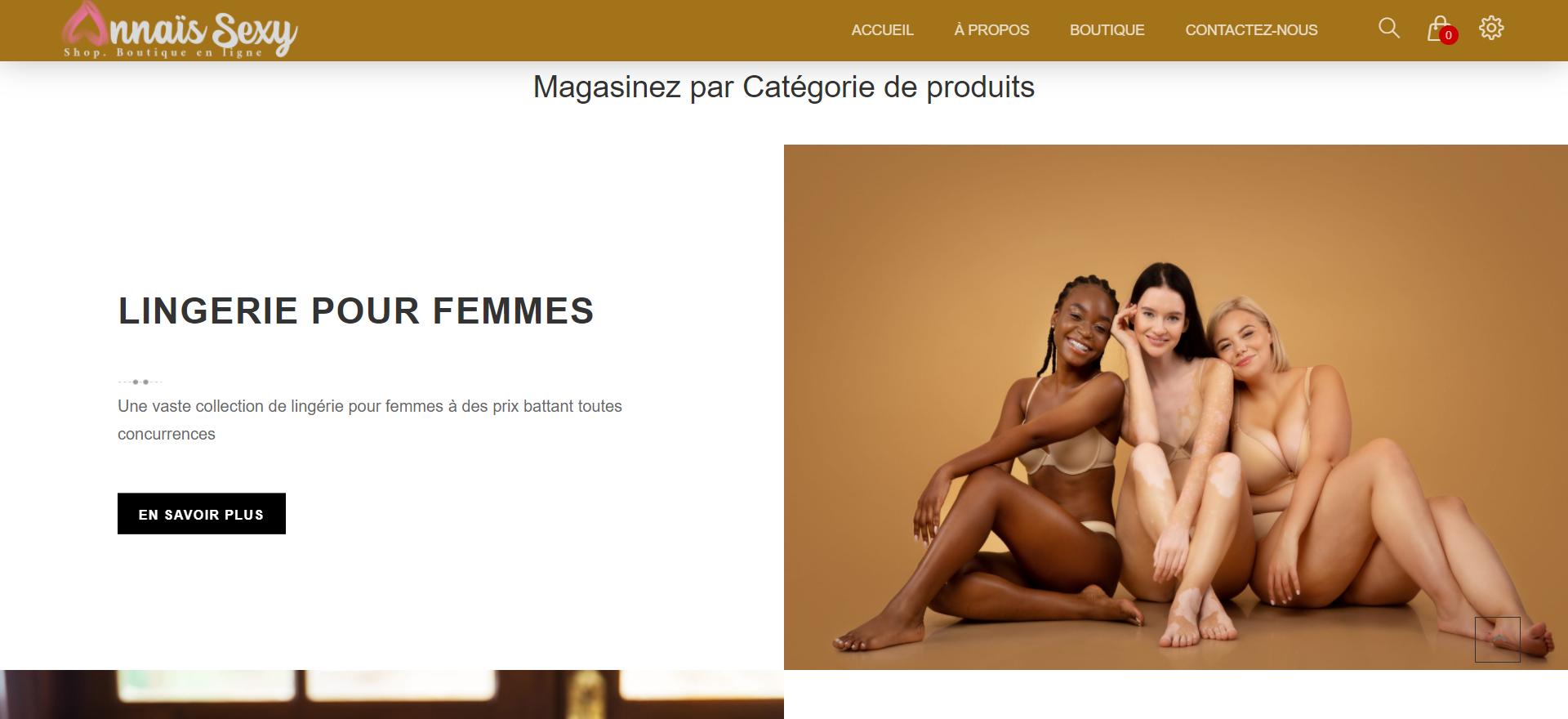 Conception de la boutique en ligne Annaïs Sexy Shop