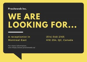 Full-time receptionist in Montreal East