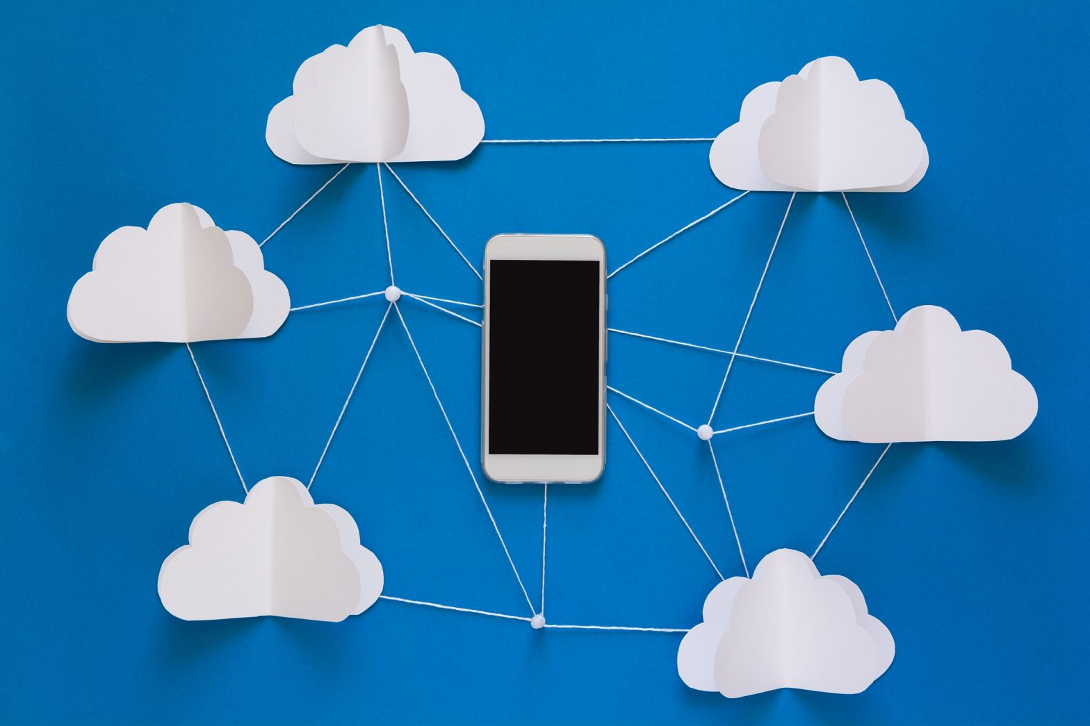 Network connection and cloud storage technology concept